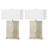 Joyce Faux Alligator Table Lamp, Cream