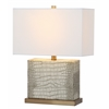 Delia Faux Alligator Table Lamp, Cream