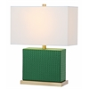 Delia Faux Woven Leather Table Lamp, Dark Green