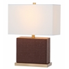 Delia Faux Woven Leather Table Lamp, Brown