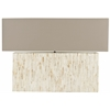 Ayers Mother Of Pearl Tile Lamp, Cream Line Pearl; Shade: Light Brown