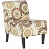 Marka Armless Club Chair, Multi-Beige, Brown, Orange,Green