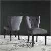 Safavieh Kendi Tufted Side Chair W/ Brass Nail Heads, Dark Blue