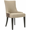 Safavieh Becca Fabric And Leather Dining Chair, Antique Gold/ Brown Leather
