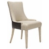 Becca Dining Chair, Antique Gold/ Brown Leather