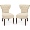 Safavieh Broome Tufted Side Chair W/ Nickel Nail Heads (Set Of 2), Natural Cream