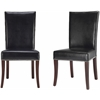 Safavieh Brewster Leather Side Chair W/ Nickel Nail Head (Set Of 2), Black