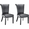 Safavieh Kiera Leather Side Chair (Set Of 2), Black