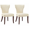 Safavieh Ryan  Leather Side Chair (Set Of 2), Flat Cream