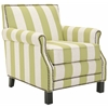Easton Club Chair With Stripes - Brass Nail Heads, Multi Stripe