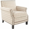 Safavieh Easton Club Chair In Plaid - Brass Nail Heads, Taupe With Orange Windowpane