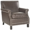 Safavieh Easton Club Chair - Silver Nail Heads, Antique Brown