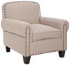Abigail Club Chair - Brass Nail Heads, Taupe
