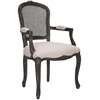 Mckenna Arm Chair With Cane Wicker - Flat Silver Nail Heads, Taupe