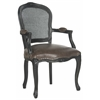 Safavieh Mckenna Arm Chair With Cane Wicker - Flat Silver Nail Heads, Antique Brown