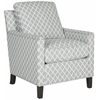 Buckler Club Chair - Silver Nail Heads, Grey / White