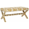 Melanie Extended Bench - Silver Nail Heads, Maize And Beige Print
