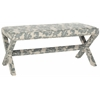 Melanie Extended Bench - Silver Nail Heads, Slate And Beige Print