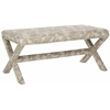 Melanie Extended Bench - Silver Nail Heads, Taupe And Beige Print