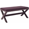 Safavieh Melanie Extended Bench - Silver Nail Heads, Plum