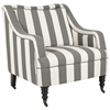 Homer Arm Chair, Greyish Blue/ White Stripe