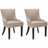 Safavieh Lotus Kd Side Chair (Set Of 2) - Silver Nail Heads, Taupe