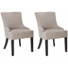Safavieh Lotus Kd Side Chair (Set Of 2) - Flat Black Nail Heads, Taupe