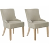 Safavieh Lotus Kd Side Chair (Set Of 2) - Flat Black Nail Heads, Biscuit Beige