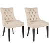 Safavieh Abby Tufted Side Chairs (Set Of 2) - Silver Nail Heads, Biscuit Beige