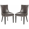 Safavieh Lester Dining Chair - Silver Nail Heads, Antique Brown
