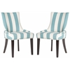 Lester Awning Stripes Dining Chair - Silver Nail Heads, Aqua Blue/White Stripe