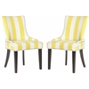 Safavieh Lester Awning Stripes Dining Chair - Silver Nail Heads, Yellow/White Stripe
