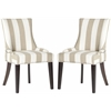 Safavieh Lester Awning Stripes Dining Chair - Silver Nail Heads, Taupe/White Stripe