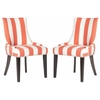Lester Awning Stripes Dining Chair - Silver Nail Heads, Orange/White Stripe