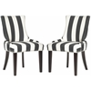 Lester Awning Stripes Dining Chair - Silver Nail Heads, Charcoal/White Stripe