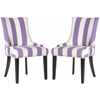 Safavieh Lester Awning Stripes Dining Chair - Silver Nail Heads, Lavander/White Stripe
