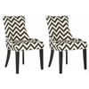 Lester Chevron Dining Chair, Black / White Zig Zag
