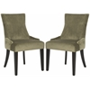 Lester Dining Chair (Set Of 2) - Flat Black Nail Heads, Evergreen