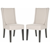 Safavieh Sher Side Chair (Set Of 2) - Silver Nail Heads, Taupe