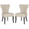 Safavieh Dharma Tufted Side Chair - Silver Nail Heads, Biscuit Beige