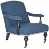 Safavieh Devona Arm Chair - Silver Nail Heads, Steel Blue