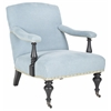 Devona Arm Chair - Silver Nail Heads, Light Blue