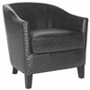 Safavieh Evander Club Chair - Brass Nail Heads, Antique Black