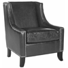 Safavieh Daniel Club Chair - Silver Nail Heads, Antique Black