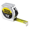 "Stanley Tools Die Cast Tape Rule, 3/4"" x 12', Metal Case, Yellow, 1/32"" Graduation"