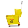 Mop Bucket/Wringer Combo, Plastic, Yellow