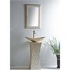 """Milan 24"""" Vessel Bowl Sink Galala Marble Stone Pedestal Set"""