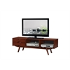 "Elegant Wood Veneer 65"" TV stand with storage. Walnut"