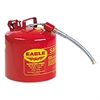 Type II Safety Can, 2 Gallon, Red, Metal Spout