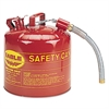 Type II Safety Can, 5 Gallon, Red, Metal Spout
